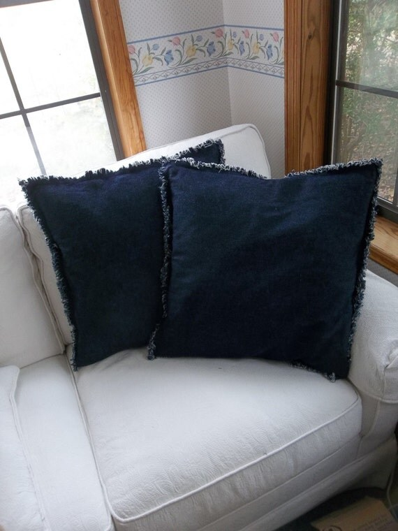 Ready Made Decorative Pillow Covers : Set 2 Denim Pillows Ready to Ship Raggedy Chambray by misshettie