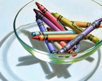 Crayons in Glass Bowl original oil painting realistic still life by Nance Danforth