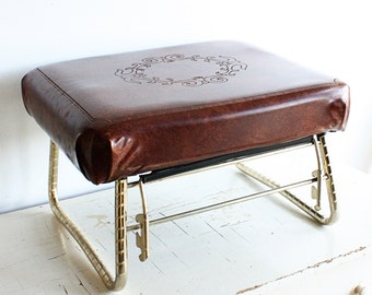 Vintage foot stool - foot rest - leg lounger - Pearl Wick - brown - adjustable