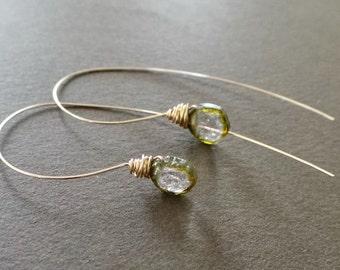 Watermelon Tourmaline Slice Earrings Simple Delicate Understated Earrings Sculptural Earrings