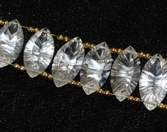 8 Pcs 4 Pair 19x10mm AAA Rock Crystal Quartz Concave Cut Marquise Briolettes / Gemstone Match Pair for Earrings