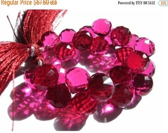 55% OFF SALE 1/2 Strand Dazzling AAA Vivid Hot Pink Quartz Faceted Onion Briolettes Size 9 - 10mm approx