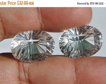 55% OFF SALE 2 Pcs  Diamond Sparkling Genuine AAA Rock Crystal Quartz Concave Cut Fancy Oval Briolettes Size 19x14mm Approx