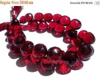 55% OFF SALE Red Cranberry Quartz Micro Faceted Onion Shaped Briolettes Half Strand 3.5 Inches Long 10mm approx