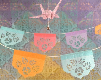LAS FLORES mini papel picado garland - Ready Made