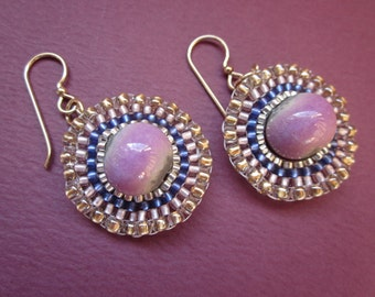 raku pink ceramic focal and seed bead stitched earrings