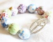 Bohemian Fabric Beaded Crystal Peace Sign Stretch Bracelet
