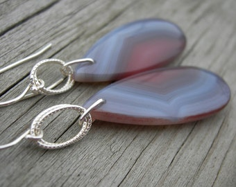 Banded Agate Sterling Silver Earrings
