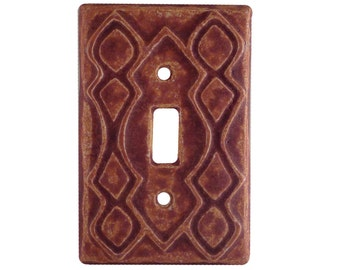 Moroccan Ceramic Single Toggle Switch Plate in terracotta glaze