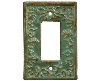 Ceramic Single Rocker Switch Plate- Whimsical Design in Antique Green Glaze