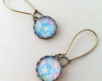 Light Blue Japanese Flower Antique Brass Glass Earrings