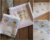 Baby Fabric Set - Early Enchantment by Punch Studios - Pink and Blue Gingham Border and Panel Print