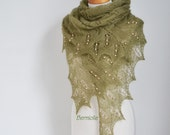 Olive lace knit shawl with peach fresh water pearls, N375