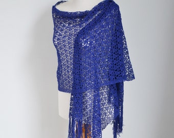 Lace knitted shawl, Blue, P438