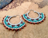 Tribal Hoop Earrings, Beaded Boho Hoops, Orange, Copper, Teal Earrings, southwest style
