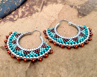 Tribal Hoop Earrings, Beaded Boho Hoops, Orange, Copper, Teal Earrings, southwest style