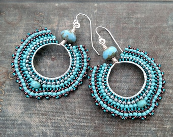 Turquoise Beaded Hoops, Silver Hoops, Beaded Bead Earrings with Copper Accents