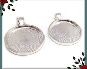 6 pcs Round 1 Inch Silver Plated Pendant Trays - Silver Plated Cabochon Trays 25mm PS189