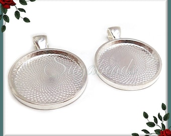 Bulk Buy 25 pcs Round 1 Inch Silver Plated Pendant Trays - Silver Plated Cabochon Trays 25mm PS189