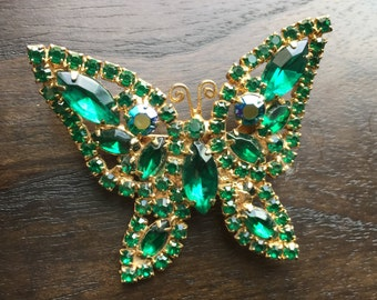 Deep Green Weiss Butterfly Brooch -  Unsigned