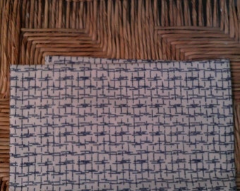 1/2 Yard  Cotton  Quilt Fabric  Blue on Cream