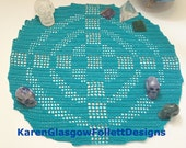 Magic of Atlantis Atlantian Equalateral Cross of Manifestation Beaded Crochet Altar Doily Cloth