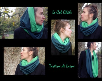 Collar shawl/Col Snood/hood blue duck/green meadow in Jersey cotton