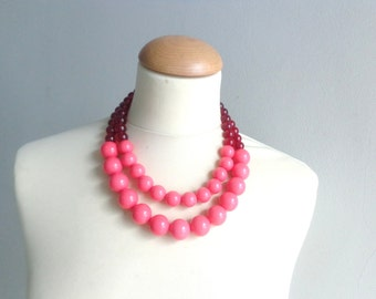 Red coral statement necklace double strand