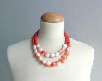 Orange white double strand statement necklace