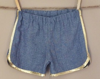 READY TO SHIP - Sunday West - speed racer pull-on shorts - herringbone chambray & metallic gold