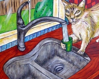 ON SALE Cat Getting a Drink Art Tile Coaster