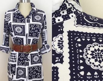 70s Navy and White Bandana Print Zip Tunic Blouse, Size Large to XL