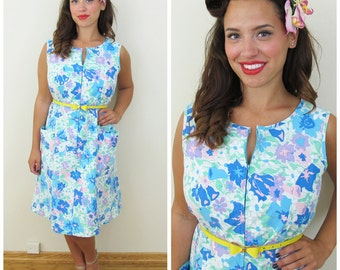 80s Komar Blue Floral Zippered House Dress, Size Large