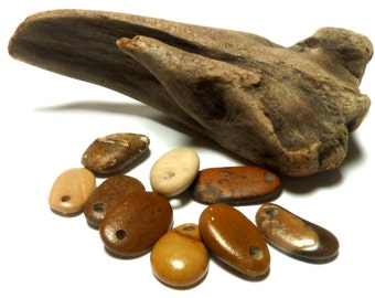 River Rock Tapers Beach Pebble Stone Natural Lake Finds Supplies diy Jewelry Beading Dark Desert Palette Top Drilled OUT WEST