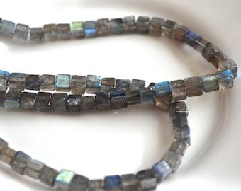 Labradorite Gemstone 6mm Cube Beads  6