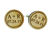 Personalized Initials and Date - Bride and Groom - Couple's Initials - Wood Cufflinks  (MCW006)