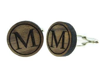 Personalized Initial - Wood Cufflinks  (MCW007)