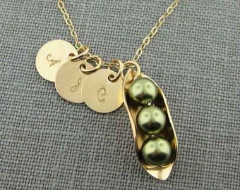 Three Peas in a Pod Necklace with Three Initial Charms - 14K Gold Filled and Swarovski Crystal Pearls (NP016).