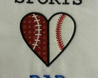 SPORTS DAD Baseball Football Heart Applique  Design - 2 Sizes - Custom Designs Welcome