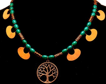 Tree of Life w/Turquoise & Copper Crescents