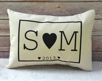 Couples Personalized pillow, valentine gift idea, Couples pillow, love pillow  - black hearts pillow, anniversary pillow,