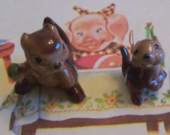 momma and baby chipmunk figurines