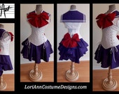 CHOOSE ANY Sailor Scout Moon Mars Jupitor Scout Shrug Steel Boned Under Bust Corset Top Bows Skirt Add-A-Bustle Bustle - CUSTOM - by LoriAnn
