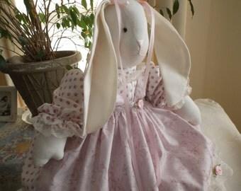 "Glenda""s Rose Garden Stuffed  Bunny Rabbit Made In The USA"