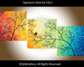"""36"""" love birds Painting acrylic painting Wall art Original Impasto Tree Love Birds Canvas art """"Sunset in Forest"""" By qiqigallery"""