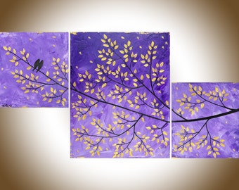 "Colourful Abstract painting set of 3 purple painting birds on tree branch odern art wall decor home decor ""Purple Dream"" by QIQIGALLER"
