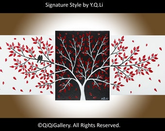 """Set of 3 paintings birds acrylic painting Wall art wall decor red black white Palette Knife canvas art """"Passionate Love"""" by qiqigallery"""