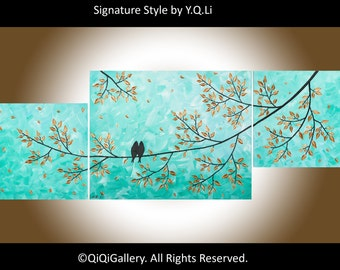"Hand Paint birds art Acrylic aqua green metalic copper painting home office wall art wall decor gift for couple ""Never Alone"" by qiqigallery"