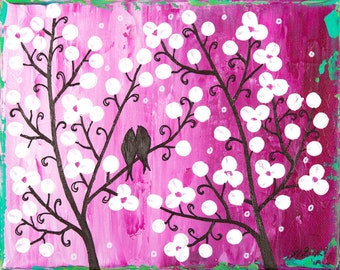 art painting Colorful love birds magenta white flowers wall art wall decor gift for couple wedding anniversary gift canvas art byQiQiGallery