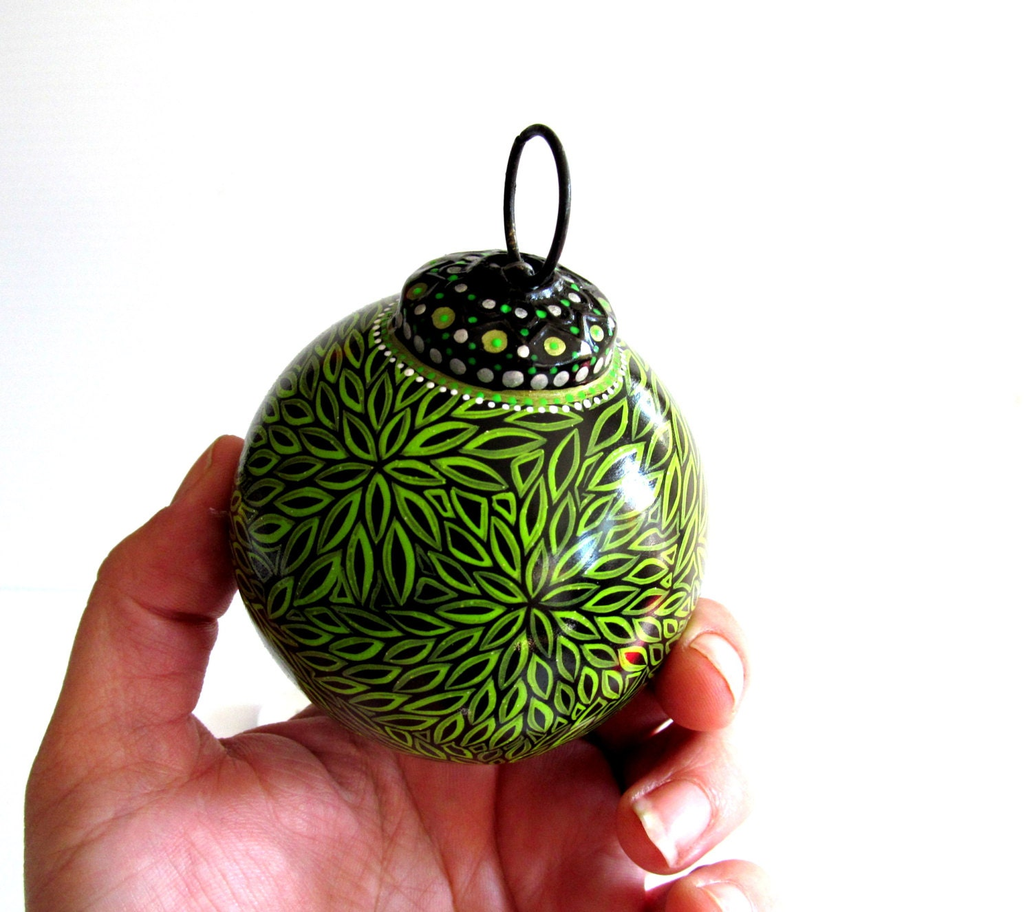 Green and black christmas ornaments hand painted glass for Glass christmas ornaments to paint